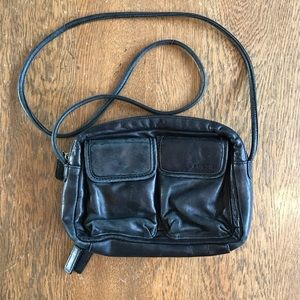 Fossil Black Leather Crossbody Wallet Purse